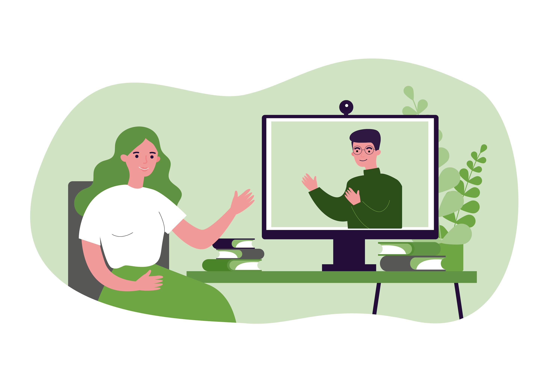 Terapeuta podczas sesji terapeutycznej z użyciem kamerki internetowej. Psychoterapia Warszawa.