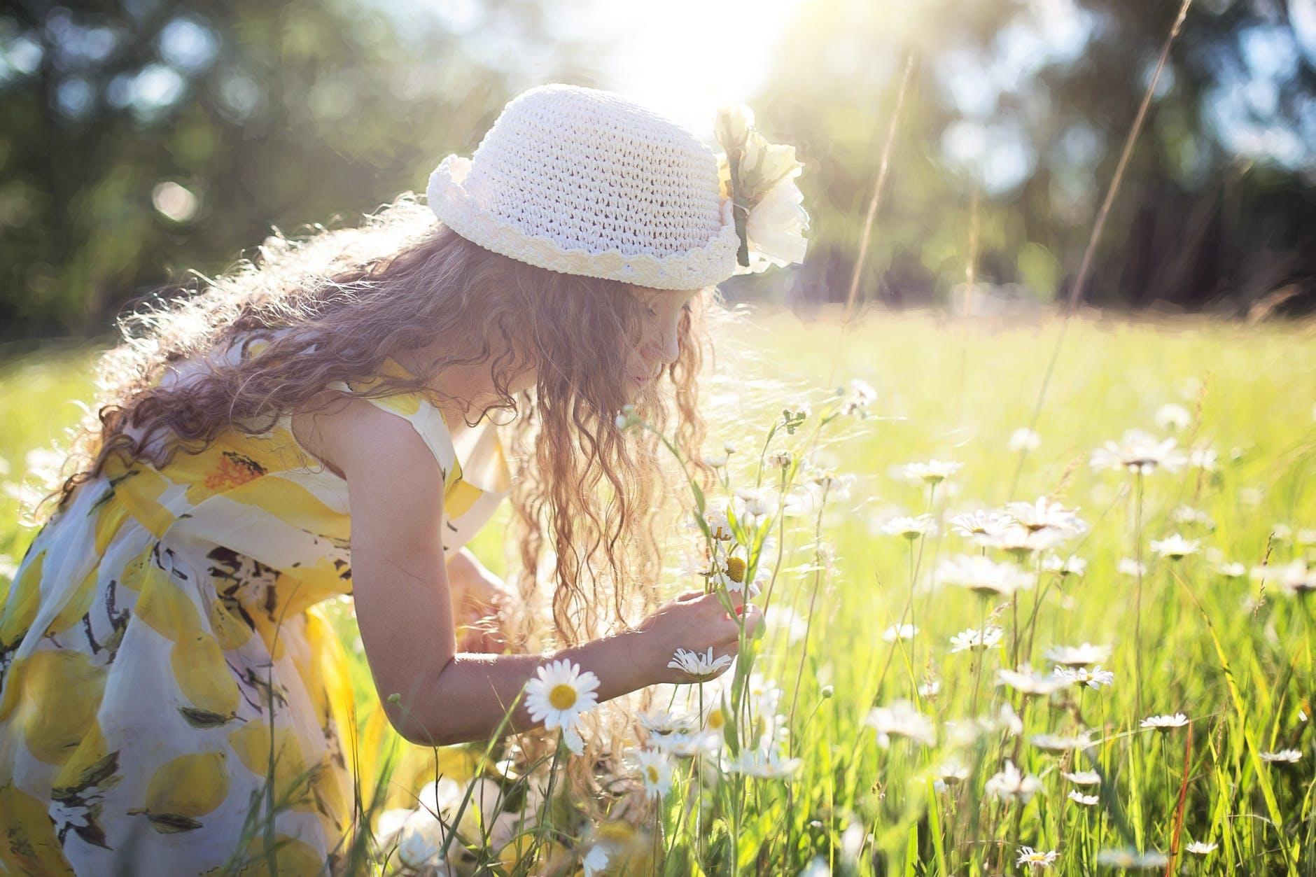 Dziewczynka w białym kapeluszu, która zrywa kwiatki na łące. Psycholog dziecięcy Warszawa
